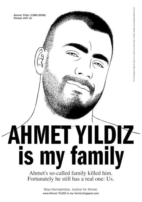 """Etwa 20 Monate nach dem """"Ehrenmord"""" an Ahmet Yildiz ist dieser zu einem Symbol geworden. Es gibt Plakate und T-Shirt mit seinem Bild. (Foto: dpa)"""